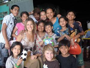 Jessica with the children of Cambodia