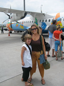 Jessica and Noa at the airport